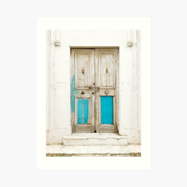 Old wooden door with turquoise paint residue Art Print