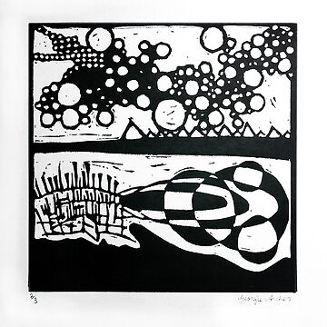 Jazz, linocut 1986 by georgianaarcher