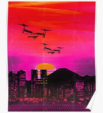80's city helicopters sunset Poster