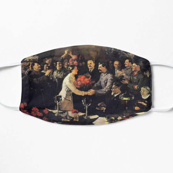 Norillag, A political poster, the Soviet Union, Stalin, the leadership of the Soviet Union, the people, applause Small Mask