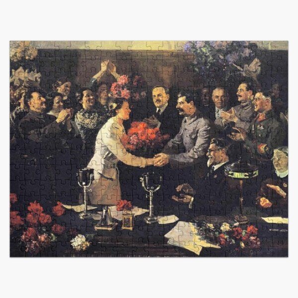 A political poster, the Soviet Union, Stalin, the leadership of the Soviet Union, the people, applause Jigsaw Puzzle