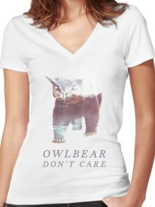 Owlbear Don't Care Women's Fitted V-Neck T-Shirt