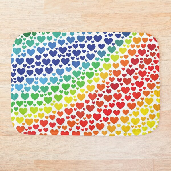 Rainbows Wave Hearts Pattern (White/Transparent Background) Bath Mat