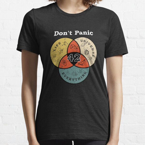 42 Don't Panic Life Universe Everything Hitchhiker Guide Galaxy Essential T-Shirt