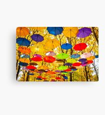 autumn umbrellas in the sky Canvas Print