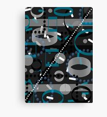 Turquoise Black Vector Abstract Pattern  Canvas Print