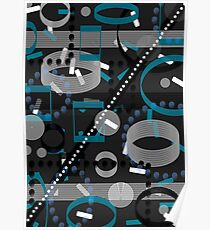 Turquoise Black Vector Abstract Pattern  Poster