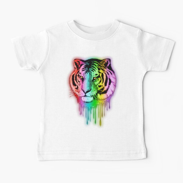 Tiger Neon Dripping Rainbow Colors Baby T-Shirt