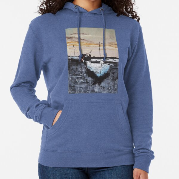 Boats At Low Tide Sunset Lightweight Hoodie