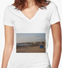 Beach in Paphos, Cyprus Fitted V-Neck T-Shirt