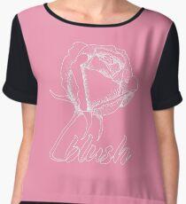 Sweet Blushing Rose. White Women's Chiffon Top