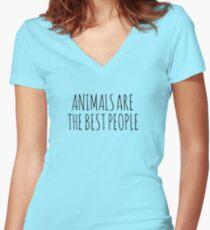AnimalsAreTheBestPeople Women's Fitted V-Neck T-Shirt