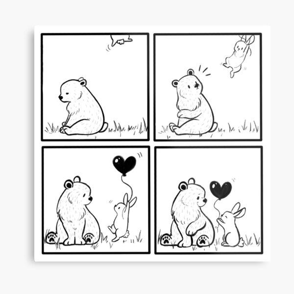 Bear and Bunny // heart balloon // comic strip Metal Print