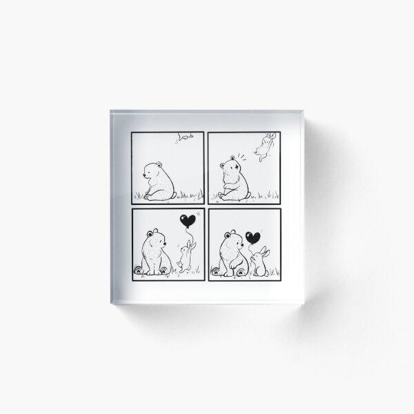 Bear and Bunny // heart balloon // comic strip Acrylic Block