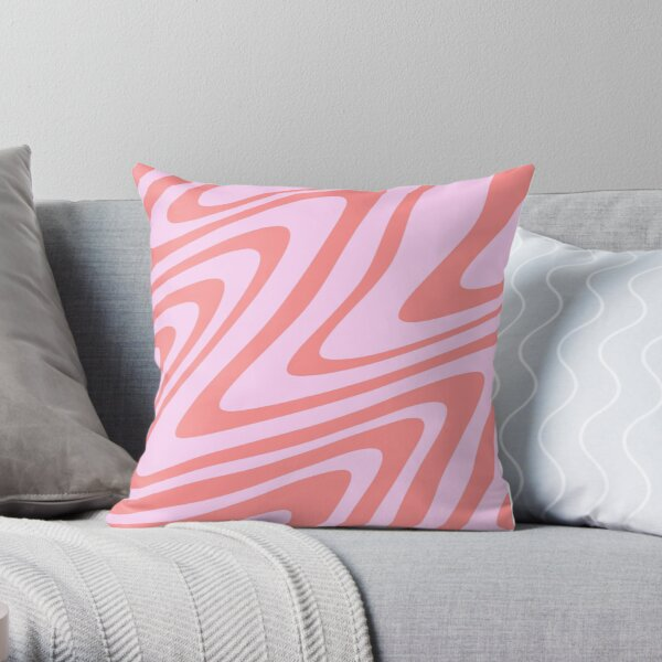 Pink Wavy Abstract Retro 70s Throw Pillow