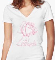 Sweet Blushing Rose. Women's Fitted V-Neck T-Shirt