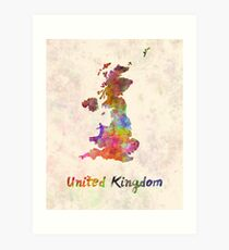 United Kingdom in watercolor Art Print