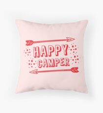 Happy Camper with arrows in RED Throw Pillow