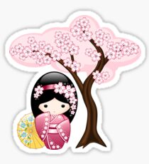 Japanese Spring Kokeshi Doll Sticker