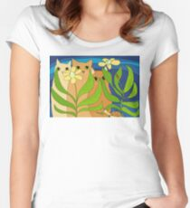 Three Cats, Two Flowers, One Snail and A Ladybug Women's Fitted Scoop T-Shirt