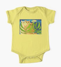 Three Cats, Two Flowers, One Snail and A Ladybug One Piece - Short Sleeve