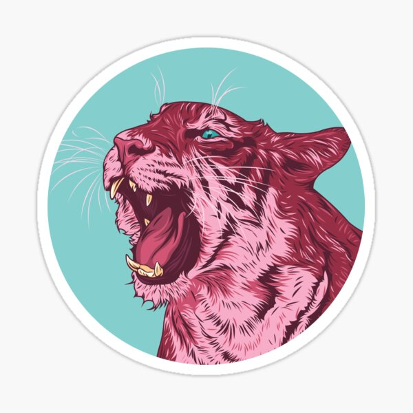Magenta tiger Sticker