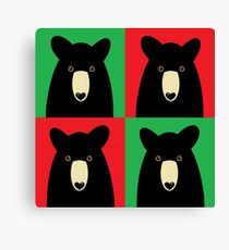 BLACK BEAR ON RED & GREEN Canvas Print
