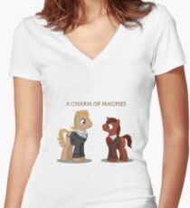 Charm of Magpies ponies Women's Fitted V-Neck T-Shirt