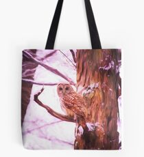 Barred Owl Looking At Me Tote Bag