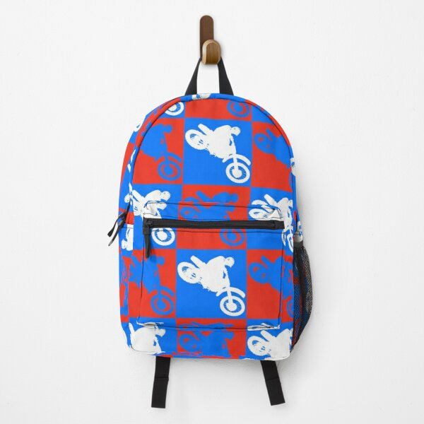Red, white and blue dirt bike motocross rider repeating pattern Backpack