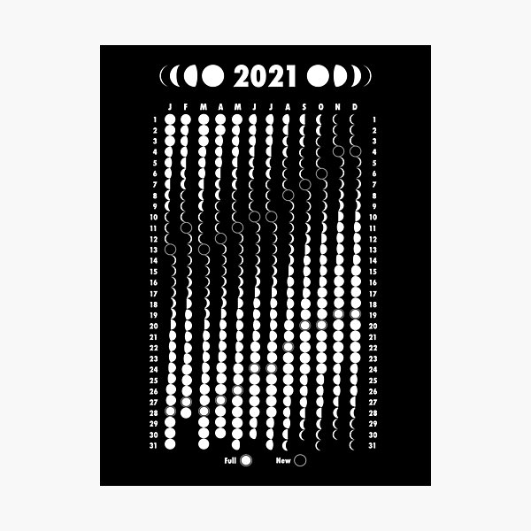 Moon Calendar 2021 Photographic Print