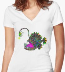Electric Angler Fish Women's Fitted V-Neck T-Shirt