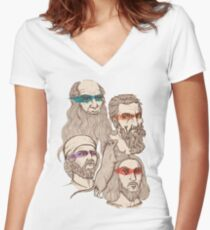 Leonardo, Michelangelo, Donatello, and Raphael... Oh and Splinter Women's Fitted V-Neck T-Shirt