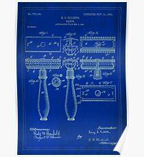 Patent Image - Razor - Blue-Poster Poster