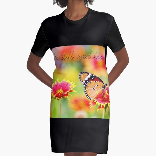Be Still and Know - Butterfly Graphic T-Shirt Dress