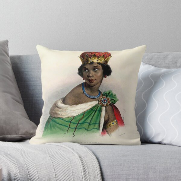 Queen Nzinga - Colorized Throw Pillow