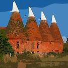 Kentish oasthouses by Dave Milnes