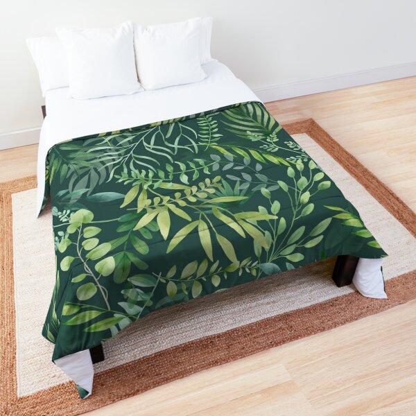 Cozy Green foliage pattern Comforter