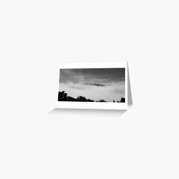 Culver In The Clouds BW Greeting Card