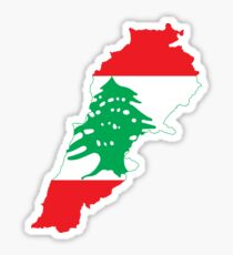 Flag Map of Lebanon Sticker