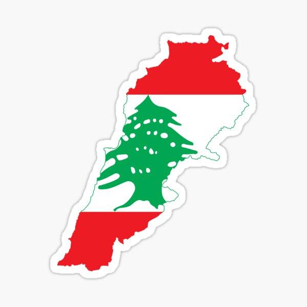 Flag Map of Lebanon Sticker
