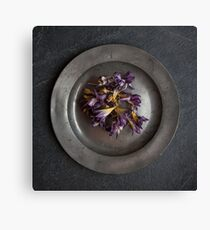 flowers on pewter plate Canvas Print