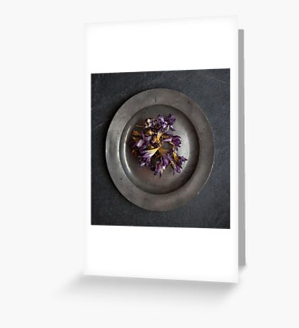 flowers on pewter plate Greeting Card