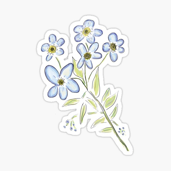 Digital Watercolour Forget-Me-Nots Sticker