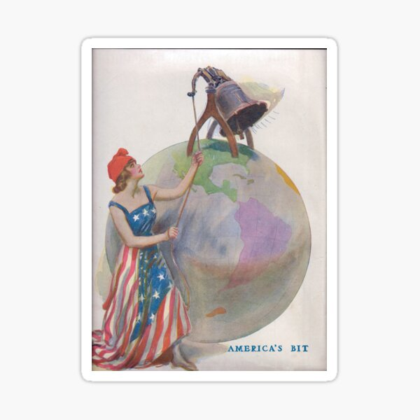 World War I Lady Liberty Ringing in Freedom Across The World Sticker
