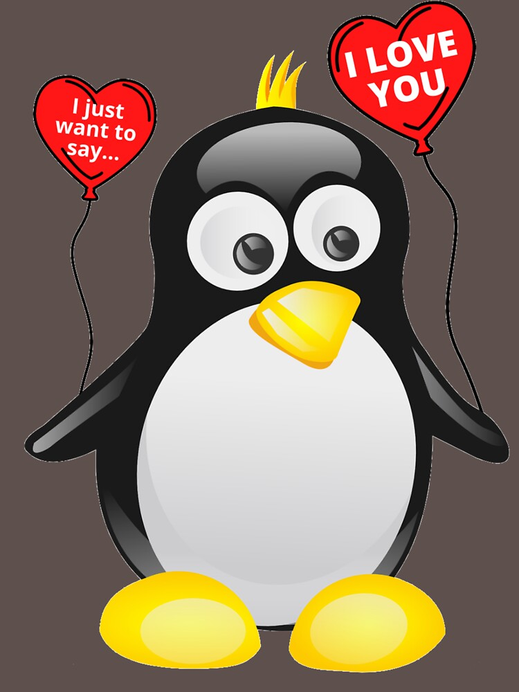 I love you from cute penguin | Valentine's day | Celebrate love | Heart balloons by TatianaLG