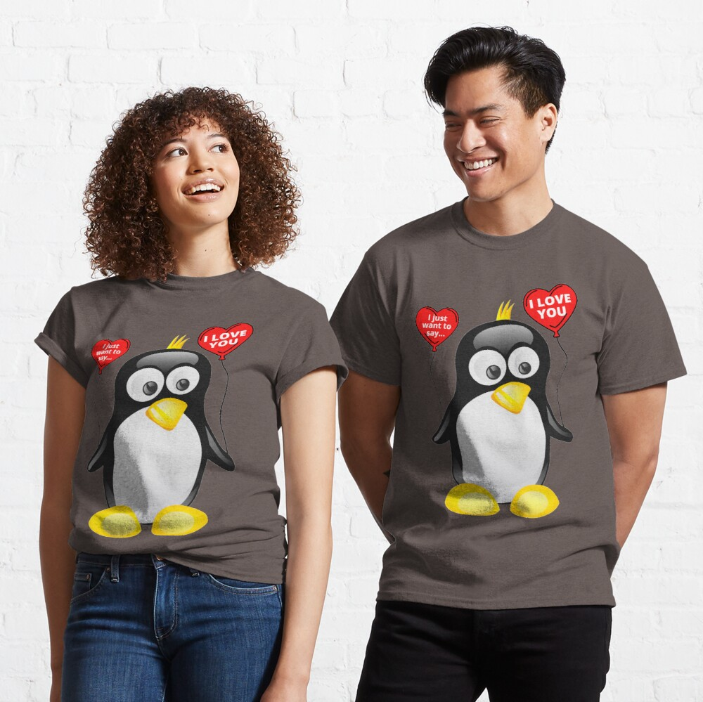 I love you from cute penguin | Valentine's day | Celebrate love | Heart balloons Classic T-Shirt