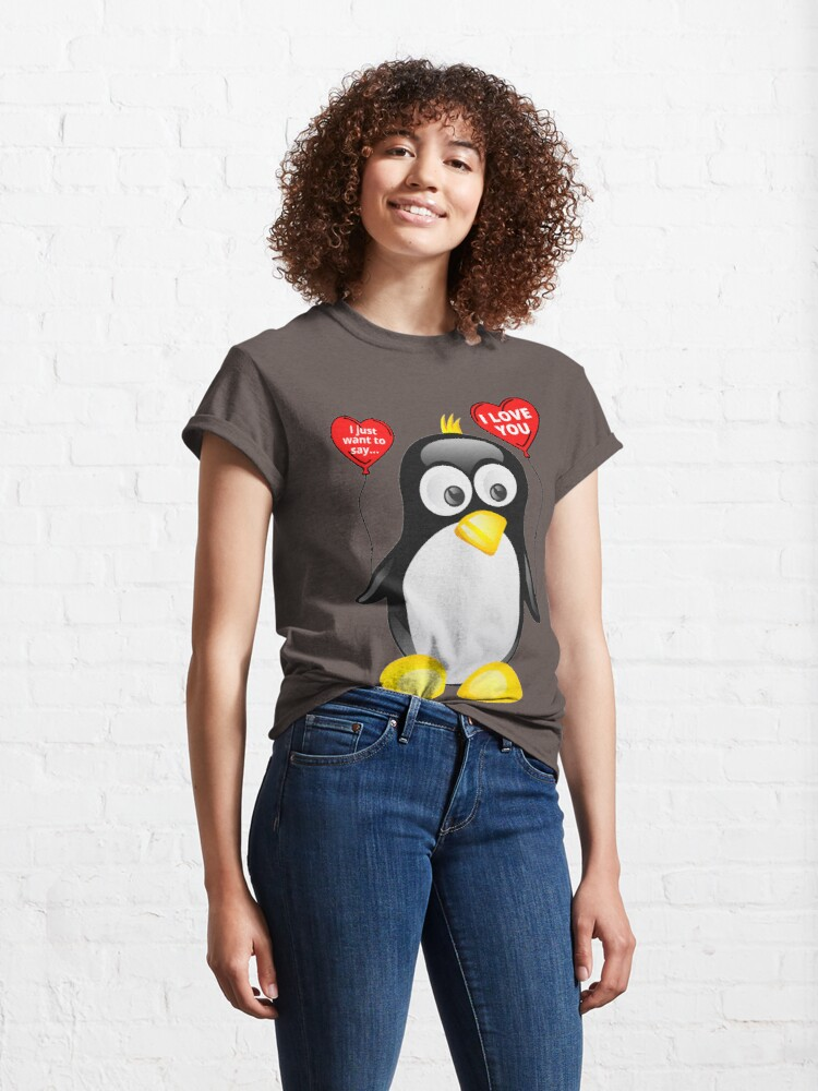 Alternate view of I love you from cute penguin | Valentine's day | Celebrate love | Heart balloons Classic T-Shirt