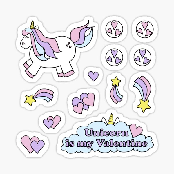 Unicorns, hearts and, shooting stars in pastel colors Valentine Sticker