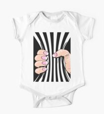 Big Hand Squeezing Referee Style Stripes Kids Clothes